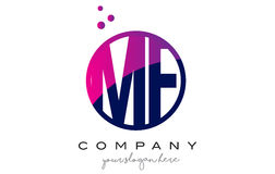 MF M F Circle Letter Logo Design met Purper Dots Bubbles Stock Afbeelding