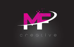 MF M F Creative Letters Design With White Pink Colors Royalty Free Stock Photo