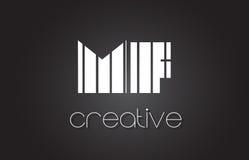 MF M F Letter Logo Design With White et lignes noires Photo libre de droits