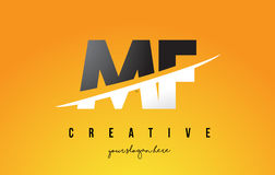 MF M F Letter Modern Logo Design avec le fond jaune et le Swoo illustration libre de droits