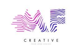 MF M F Zebra Lines Letter Logo Design avec des couleurs magenta Photo libre de droits