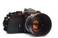 MF SLR camera. It is a isolated MF SLR camera with standard lens Royalty Free Stock Image