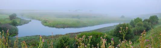 Mgłowy lato krajobraz z rzecznym chyłem i łąkami zdjęcia stock