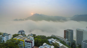 Mgła i wschód słońca obrazy royalty free