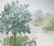 Mgła na jeziorze ilustracja wektor