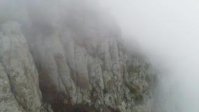 Mgła na zbocze góry strzał Diagonalna zbocze góry z drzewami w mgle zamkniętej w górę Zwarta mgła odkrywa całkowitą przestrzeń sk zdjęcie wideo