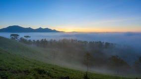 Mgła nad górą i lasem na wschodzie słońca przy Da Lat, Wietnam Zdjęcia Royalty Free