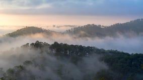 Mgła nad górą i lasem na wschodzie słońca przy Da Lat, Wietnam Obraz Stock