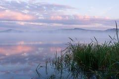 Mgła nad rzeką i różowe chmury przed latem dniejemy Fotografia Stock