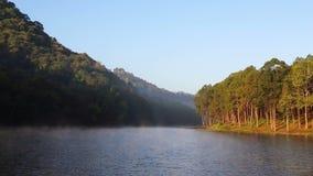 Mgła nad ssanie w żołądku Ung jeziorem zdjęcie wideo