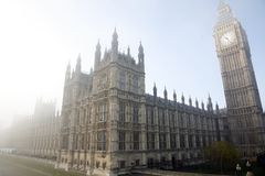 mgła pałac Westminster Zdjęcie Royalty Free