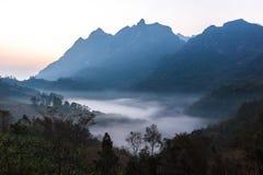 Mgła przy górą Zdjęcia Stock