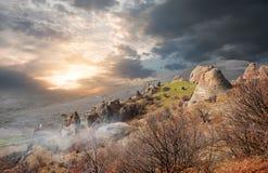 Mgła w dolinie duchy Zdjęcia Royalty Free