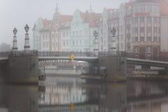 Mgła w wiosce rybackiej, Kaliningrad Zdjęcia Stock