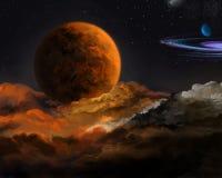 Mgławica wokoło czerwonej planety w przestrzeni royalty ilustracja