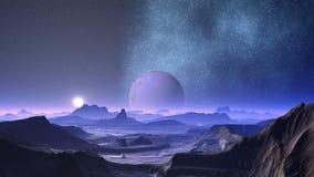 Mgławicy i planety obcy royalty ilustracja