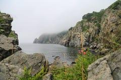 Mgłowy denny głąbik rocky brzegu Zdjęcie Royalty Free