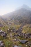 Mgłowy jesień ranek nad footpath przez przełęcza Zdjęcia Stock