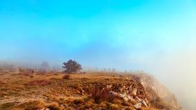 Mgłowy jesień wieczór w Val Rosandra Zdjęcia Stock