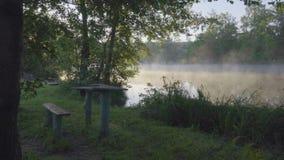 Mgłowy ranek i rzeka zbiory