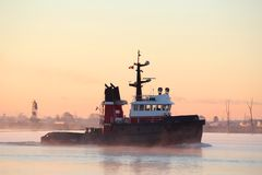 mgły ranek rzeki tugboat fotografia stock