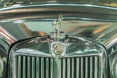 MG汽车商标在前边格栅 免版税库存照片