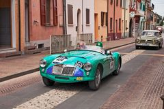 MG en 1955in Mille Miglia 2017 Royaltyfria Foton