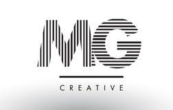 MG M G Black et lignes blanches lettre Logo Design Illustration Libre de Droits