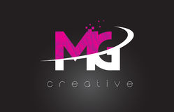 MG M G Creative Letters Design With White Pink Colors Royalty Free Stock Images