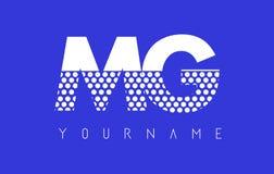 MG M G Dotted Letter Logo Design con el fondo azul Imagen de archivo libre de regalías