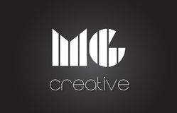 MG M G Letter Logo Design With White et lignes noires Image stock