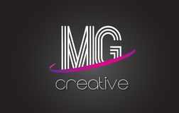 Free MG M G Letter Logo With Lines Design And Purple Swoosh. Stock Photography - 93690992