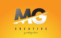 MG M G Letter Modern Logo Design avec le fond jaune et le Swoo illustration de vecteur
