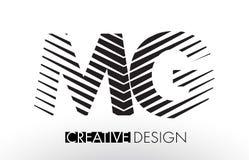 MG M G Lines Letter Design avec le zèbre élégant créatif Photos stock