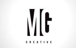 MG M G White Letter Logo Design avec la place noire Photo libre de droits