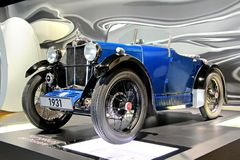MG M-Type. WOLFSBURG, GERMANY - AUGUST 14, 2014: British retro vehicle MG M-Type at the museum of the Volkswagen Autostadt stock photos