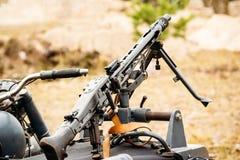Machine gun mg-42 on a motorcycle. MG-42 machine gun mounted on a motorcycle Stock Images