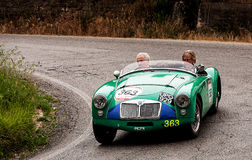 MG A  1955. Mille miglia 2015 italy history vintage car retro Stock Images