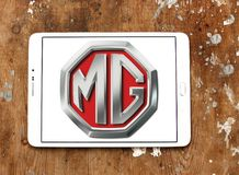 MG Motor company logo. Logo of MG Motor company on samsung tablet. MG Motor UK Limited MG Motor is an automotive company headquartered in Longbridge, Birmingham Stock Photos