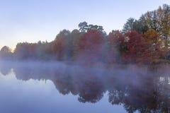 Mgła na jesieni drzewach i wodzie Zdjęcie Stock