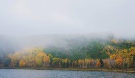 Mgła na jeziorze podczas jesieni przy Acadia parkiem narodowym fotografia stock