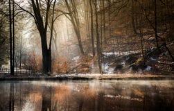 Mgłowa dolina z jeziorem Obraz Royalty Free