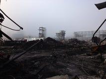 Mgłowy azbest i rozbiórki cleanup krajobraz Zdjęcie Royalty Free
