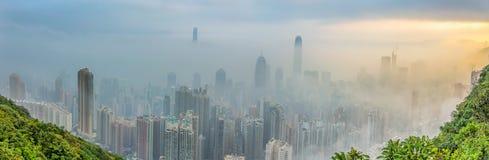 Mgłowy Hong Kong widok Zdjęcia Stock