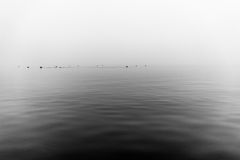 Mgłowy popielaty jezioro Zdjęcia Royalty Free