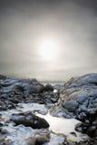 Mgłowy zima krajobraz Zdjęcia Royalty Free
