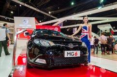 MG presentatörbås på Thailand den motoriska showen. Arkivfoto