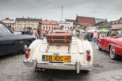 MG 1600, rear view, retro design car. Exhibition of vintage cars. Rally of old vintage vehicles anciens. Collectors unique cars. Cream colored with chrome Royalty Free Stock Image