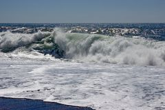 The roar of Pacific surf stock photo