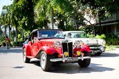 MG TD on Vintage Car Parade. HUA HIN - DECEMBER 18: MG TD , 1952 year. Retro Car on Vintage Car Parade 2010 at Sofitel Resort on December 18, 2010 in Hua Hin Royalty Free Stock Photos